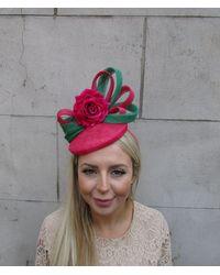 Etsy Cerise Pink Rose Flower Emerald Green Fascinator Pillbox Hat Hot Raspberry Headpiece Statement Races Wedding Sinamay U1304