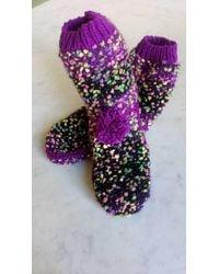 Etsy Chaussons Chaussettes Tricotés Main 37/40 - Violet