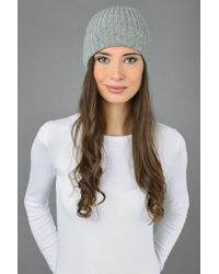 Etsy Beanie Hat Fisherman 100% Pure Cashmere Watchcap Ribbed Light Grey Made In Italy