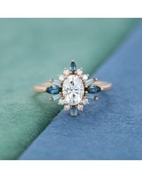 Etsy Rose Gold Moissanite Engagement Ring Oval Shaped Unique London Blue Topaz Cluster For Vintage Bridal Anniversary Gift
