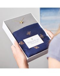 Etsy Bee Scarf & Gold Necklace Gift Set - Metallic