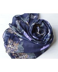 Etsy Organic Cotton Scarf Large Navy Blue Purple Floral Wrap With Rolled Edges