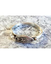 Etsy Stacking Ring Silver/feather - Metallic