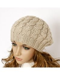 Etsy Hand Knitted Ladies Hat Cable Beret Chunky Knit -beige Beige Beige Beanie Accessories - Natural