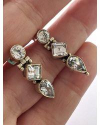Etsy Art Deco 925 Sterling Silver Topaz Drop Earrings - Metallic
