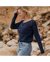 Etsy The Seren Hand Knitted Wool & Organic Cotton Cardigan In Navy - Blue