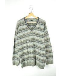 Etsy Vintage V-Collared Striped Sweater Geometric Patterns Wool Ikat Jumper Knit Pull Boho Rustic Hippie Grunge Oversized L - Multicolore