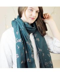Etsy Rose Gold Constellation Star Print Soft Scarf - Green