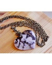 Etsy Rhodonite Heart Pendant Necklace - Red