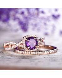 Etsy Amethyst Engagement Ring Set Rose Gold 14k 18k Wedding Anniversary Thin Pave Diamond Matching Band Twisted Full Eternity - Metallic