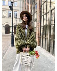 Etsy Green Cardigan Coat Wool Cable Knit Sweater Oversized Balloon Sleeve Veste Tricotée Verte - Blanc