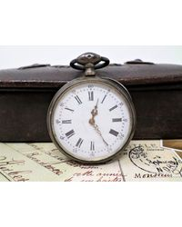 Etsy Antique Silver Pocket Watch With Key Wind - Metallic