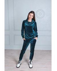 Etsy Survêtement En Velours Sarcelle Sweat-Shirt Cou Cowl Et Pantalon Assorti Salon Ensemble Deux Pièces Co Ord Set - Blanc