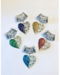 Etsy Large Silver Heart Scarf Ring/bail Slide - Metallic