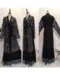 Etsy Elegant Modest Sequinned Frill Hem Cardigan Duster Abaya Dubai Turkey Hijab Muslim Dress Long Length Maxi Belted Kimon - Black