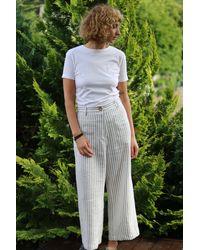 Etsy Prêt À Expédier/striped Linen High Waist Culottes/Wide Leg Pants Offon Clothing - Blanc