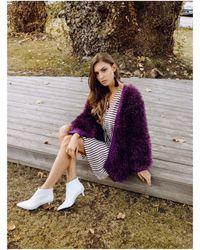 Etsy Pull Violet Robe Laine Poncho Chunky Knit Cardigan Black Kimono Jacket Oversized Sweate - Blanc