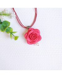 Etsy Red Flower Necklace Pendant