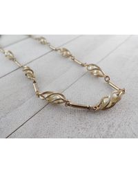 Etsy Vintage Sarah Coventry Gold Tone & Caged Faux Pearl Necklace - Metallic