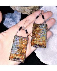 Etsy Tarot Card Earrings The Hermit & Fool Starseed Orgone Earrings - Black
