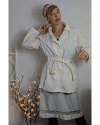 Etsy Polaire Blanche Manteau Trench Vintage Doux Chaud Léger /M/L/