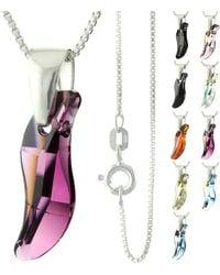 Etsy 925 Sterling Silver Faceted Wave Swarovski Crystal Pendant Necklace - Metallic