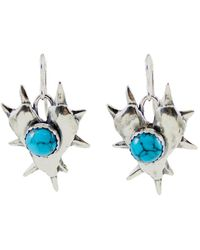 Etsy - Spiked Heart Turquoise Earrings - Lyst