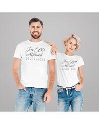 Etsy Couple Tee Shirts Just Married Cadeau Evjf Lendemain De Mariage Date - Blanc