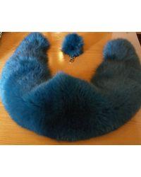 Etsy Nouveau Natural Real Amazing Blue Couleur Fullskin Fox Collier De Fourrure - Bleu