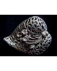 Etsy Sterling Silver Openwork Floral Filigree Brooch - Metallic