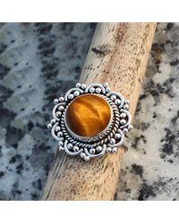 Etsy Tiger Eye Natural Gemstone 925 Solid Sterling Silver Handmade Ring - Metallic