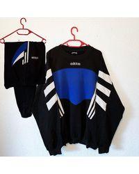 Etsy Vintage Adidas Survêtement Trainingsanzug Retro 80S 90S D10 Xl - Noir