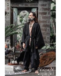 Etsy Noir Lin Kimono ∆ s Veste Japonais Cardigan Linge Vêtements Boho Robe Manches Larges Plus