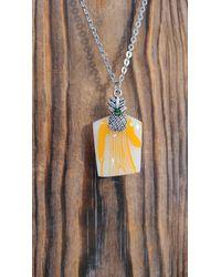 Etsy Orange Butterprint Pyrex Pineapple Head Amish Man Necklace