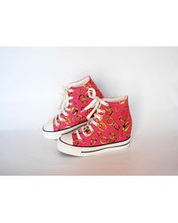 Etsy Canvas Sneakers Vintage Coachella All Star Hi Tops Shoes Goth Rock - Rose