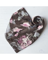 Etsy Organic Cotton Scarf Large Mahogany Brown Floral Wrap With Rolled Edges