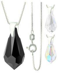Etsy 925 Sterling Silver Faceted Chandelier Swarovski Crystal Pendant Necklace - Metallic