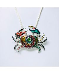 Etsy - Large Silver-tone Artsy Colorful Crab Enamel Pendant Necklace Beach Sand Sun Summer Tropical Island Jewelry Lover Gift A1613 - Lyst