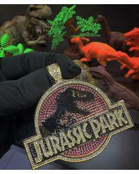 Etsy 14k Gold Over Custom Jurassic Park Pendant In 2 Ct Round Multi Color Hip Hop Man Diamond Gift T - White