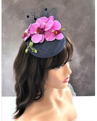 Etsy Navy Blue Orchid Flower Fascinator Percher Hat With Spotty Veiling Detail Small Size Races Wedding Headpiece