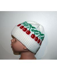 Etsy Red Cherries On A White Beanie Hat