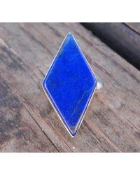 Etsy 925 - Diamond Lapis Stone Ring Size 8.5, Sterling Silver Blue Lazuli Ring, Natural Size 8 9, Statement