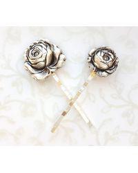 Etsy Silver Rose Hair Pins Set Of Two - Metallic