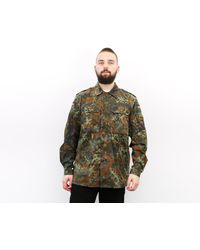Etsy Lecktarn Allemand 1997 Vintage 'S M Shirt Jacket Army Military Zip Up Camouflage Snap Button Camo Top Long Sleeve 1V - Marron