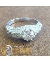 Etsy 14k White Gold Round Cut Diamond Engagement Ring Halo Deco Antique Style