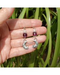 Etsy Amethyst Crystal Moon & Stars Silver Earrings Boho Hippie Artisan February Birthstone Jewelry - Metallic