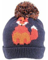 Etsy Womes Ladies Winter Woolly Knitted Mr Fox Print Bobble Pom Beanie Hat Navy Orange
