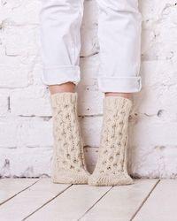 Etsy Chaussettes À Câble Tricotés Chaussettes De Blanc Chaussettes Faites La Main D'hiver En Laine Naturelle Tricot Maison Na...