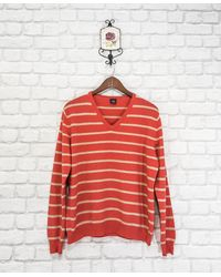 Etsy Yorn 100% Finest Cashmere 2-Ply Knit Striped Jumper Sweater Pullover V Neck - Rouge