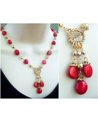 Etsy Red Coral Lariat Single Strand Necklace